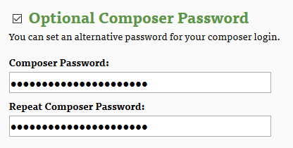 separate password for composer